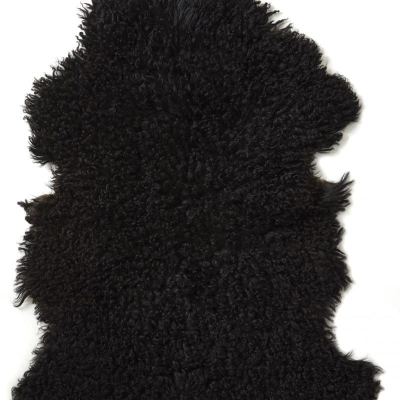 Lockigt fårskinn i naturligt svart