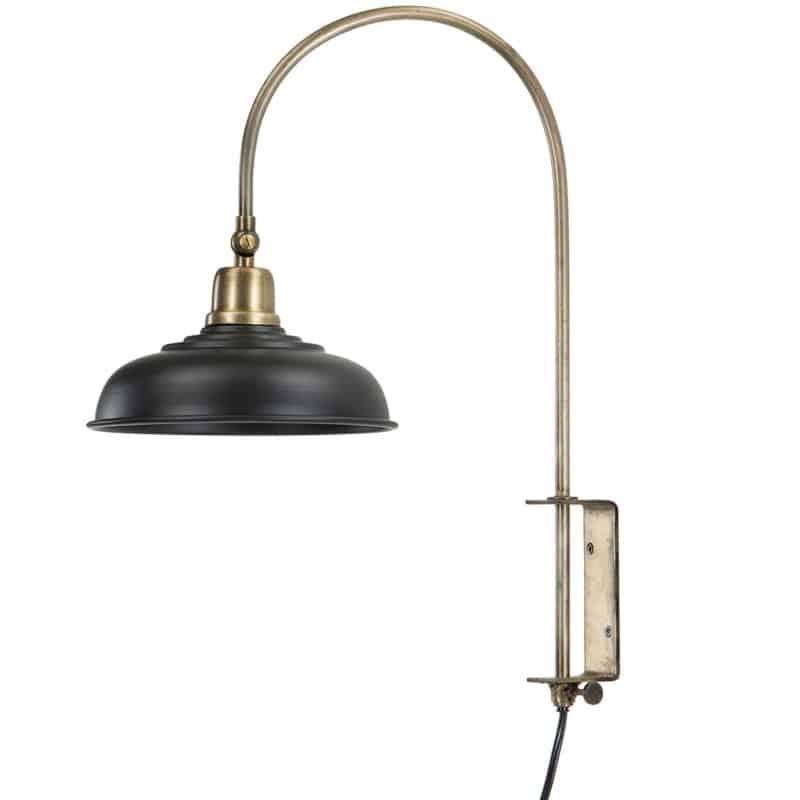Vägglampa svart/antik mässing