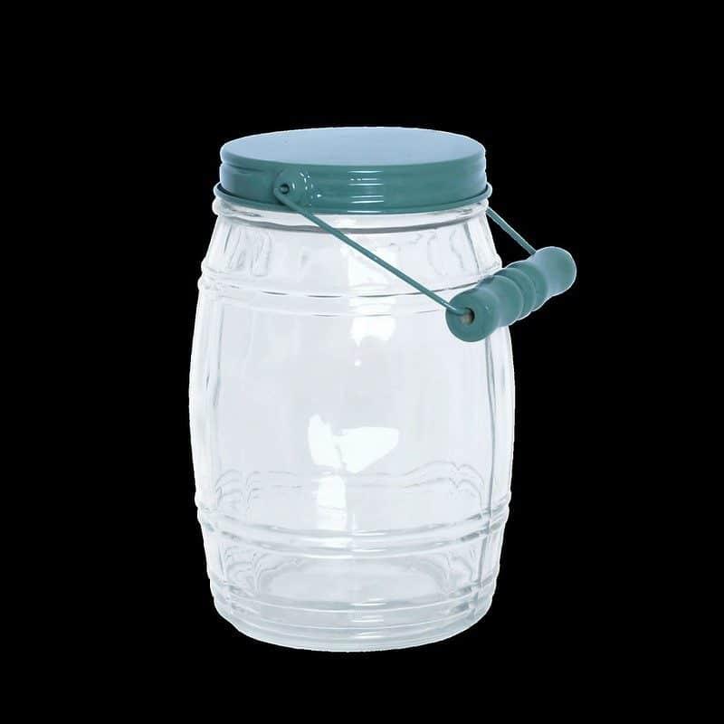Glasburk med skruvlock i plåt och handtag