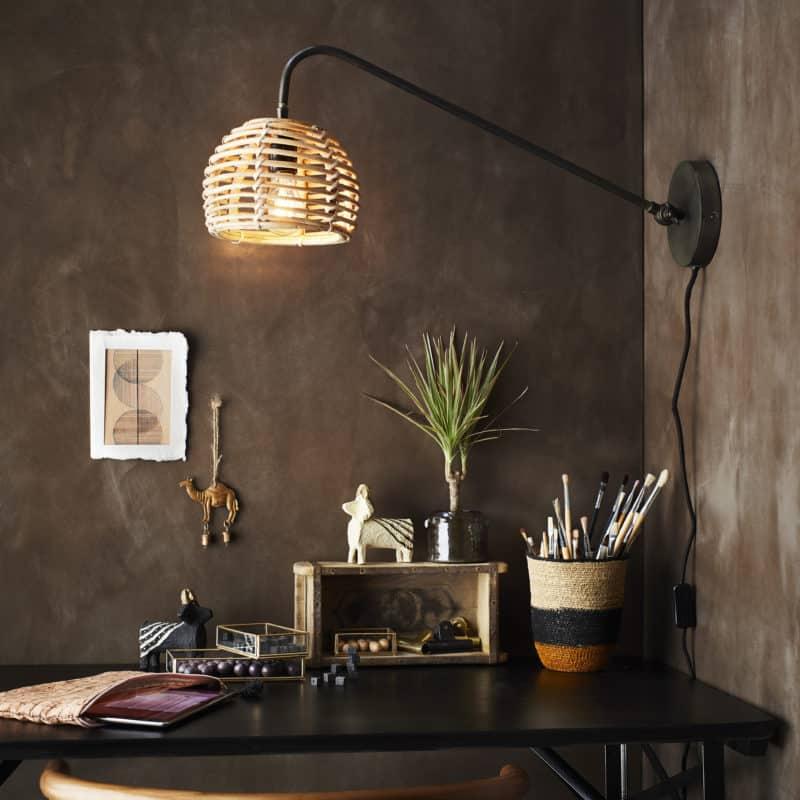 Vägglampa bambu